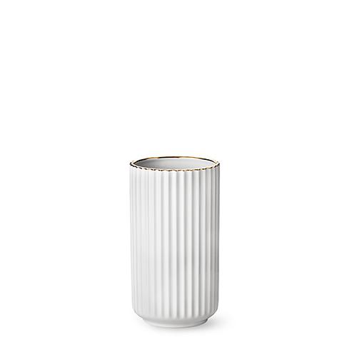 lyngby vase white porcelain w gold rim 20 cm. Black Bedroom Furniture Sets. Home Design Ideas