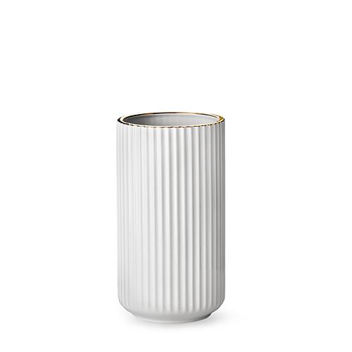 lyngby vase white porcelain w gold rim 25 cm. Black Bedroom Furniture Sets. Home Design Ideas
