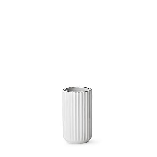 Lyngby vase - White porcelain w. silver rim 15 cm